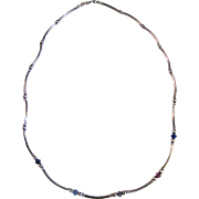 """SALE Exceptionally Delicate Sterling & Crystal Bead 16"""" Necklace"""