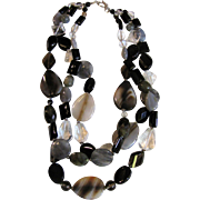 Sophisticated 3 Strand Hand Cut Natural Stone Necklace, Fully Knotted, Sterling Clasp