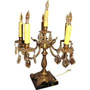 Large Vintage 5 Light Cast Brass Candelabra with Black Marble Base