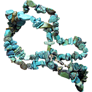 "SALE South Western Turquoise Nugget 16"" Choker Necklace, Sterling Clasp"