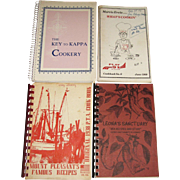 4 Vintage Cookbooks - The Key to Kappa Cookery, Mount Pleasant's Famous Recipes, What's Cookin
