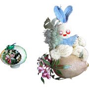 1960's Easter Tree Ornaments, Bunny and Egg, Cute and Different!
