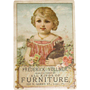 Vintage Girl with Cat and Flowers, Frederick Vollmer, Furniture Manufacturer and Dealer Trade/