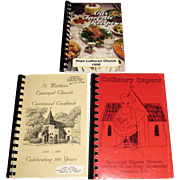 3 SC Community Church Cookbooks - St. Matthias Centennial Cookbook, Culinary Capers Cookbook .