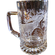 Finely Etched Stag in Forest Clear Glass Stein by Alwe of German