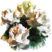 Beautiful Capodimonte Centerpiece, A Basket of Large Bisque Roses