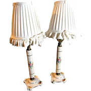 Elegant Pair of French Porcelain Boudoir Lamps with Pleated Shades