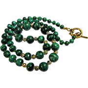 "SALE Gorgeous Vintage Malachite and Cloisonne Bead 24"" Necklace"