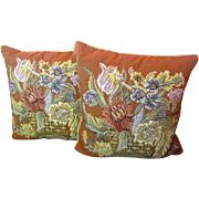 Matched Pair of Floral Bouquet Wool Needlepoint Pillows, Feather Infills