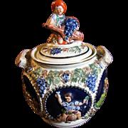 German Gerz Handgemalt Stoneware Punch Bowl with Lid