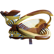 Amish Hand Crafted Hardwood Folding Basket, Dove & Heart Motif