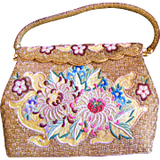 Beautiful Oriental Inspired Vintage Hand Beaded and Appliqued Evening Bag