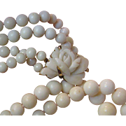 SALE Art Deco Graduated Two Strand Angel Skin Coral Necklace, 30 mm Hand Carved Flower Clasp