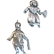 SALE Charming Pair of Sterling Asian Boy & Girl Pins