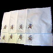 "SALE Eight 16"" Ribbon Embroidered Cotton Napkins, Pretty!"