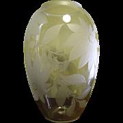 "Huge 14"" Retro Modern Blown Hand Cut Art Glass Vase"