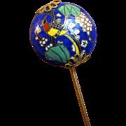 Vintage Cloisonne Bird Design Stick Pin with Gilt Filigree Mounts