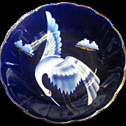"SALE Vintage Japanese Fukagawa Style Signed Porcelain 10"" Footed Bowl w/ Crane Decoration"