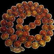 """SALE 30"""" Vintage Apple Sponge Coral Necklace w/ Gilt Silver Clasp"""
