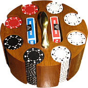 Superb Mid Century Poker Set; Chips, Cards, and Wooden Caddy