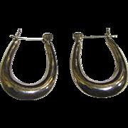 """SALE Classic Sterling Oval Hoop Style 1"""" Earrings, 3 Grams"""