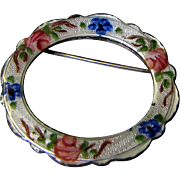 """SALE Delicate Guilloche Rose Enamelled 1 1/4"""" Sterling Pin by Lamode"""