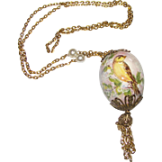 """Hand Painted Bird on Egg 30"""" Tassel Chain Necklace"""