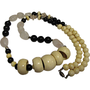 SALE Bold Hand Carved Bone, Rose Quartz & Black Bead Tribal Necklace