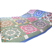 Loveliest Hand Stitched Vintage Calico Coverlet Quilt