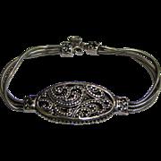 SALE Beautiful Sterling Filigree & Triple Snake Chain Designer Bracelet, 20 Grams