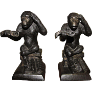 Amusing Pair of Cast Metal Reading Monkey Bookends, Sturdy and Unusual
