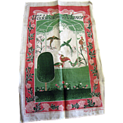 "Unused Irish Linen ""Waddesdon Manor"" Tea Towel by Charmaine Williamson"