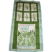 Unused Pure Linen Tea Towel, Williamsburg Herb Garden Design
