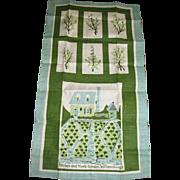 Unused Pure Linen Tea Towel, Williamsburg Herb Garden Design