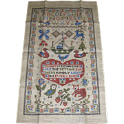 Unused Pure Linen Tea Towel Antique Friendship Sampler Design