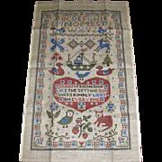 Unused Pure Linen Tea Towel Antique Friendship Sampler Design