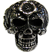 SALE Cool Size 6 Stainless Steel Sugar Skull Ring