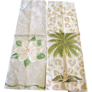 Pair of SC Theme Hand Painted Linen Finger Towels, Unused