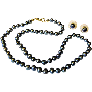 """SALE Freshwater Gray Baroque Pearl Fully Knotted 18"""" Necklace & Earring Set"""