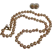 """Freshwater Peach Baroque Pearl Fully Knotted 18"""" Necklace & Earring Set"""