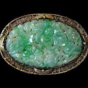 SALE Chinese Export Vermeil Filigree & Carved Jade Brooch (needs pin)