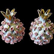 Gilt Pineapple Salt & Pepper Set w/h Applied Tiny Pink Roses