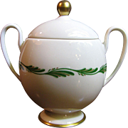Lidded Sugar Arcadia Green Pattern by Franciscan China