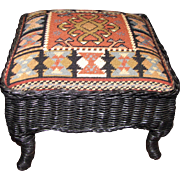 Super Black Wicker Footstool with Needlepoint Top