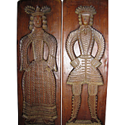 "Pair of 24"" Elizabethan Revival Vintage Wooden Figural Plaques"