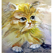 Charming Vintage Watercolor Study of a Cat by Charlotte Kohn