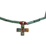 Lovely Turquoise, Coral & Sterling Cross Necklace