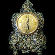 Huge & Cool 50's Mantle Clock, Quartz in Green Resin, Lanshire Electric Movement