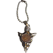 Petite Arrow Shaped Key Fob with Miniature Indian Head Copper Coin
