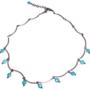 Delicate Sterling and Turquoise Festoon Choker Necklace